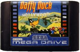 Cartridge artwork for Daffy Duck in Hollywood on the Sega Genesis.