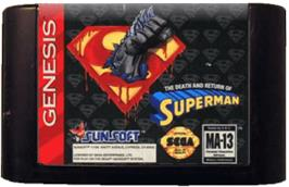 Cartridge artwork for Death and Return of Superman, The on the Sega Genesis.