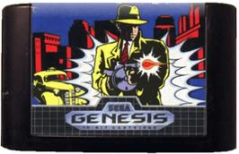 Cartridge artwork for Dick Tracy on the Sega Genesis.