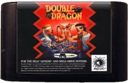 Cartridge artwork for Double Dragon on the Sega Genesis.