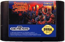 Cartridge artwork for Double Dragon 3 - The Rosetta Stone on the Sega Genesis.