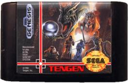 Cartridge artwork for Dragon's Fury on the Sega Genesis.