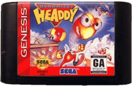 Cartridge artwork for Dynamite Headdy on the Sega Genesis.