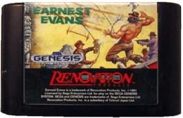 Cartridge artwork for Earnest Evans on the Sega Genesis.
