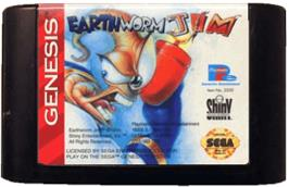 Cartridge artwork for Earthworm Jim on the Sega Genesis.