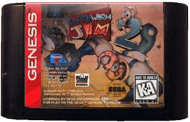Cartridge artwork for Earthworm Jim 2 on the Sega Genesis.