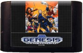 Cartridge artwork for Ex-Mutants on the Sega Genesis.