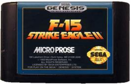 Cartridge artwork for F-15 Strike Eagle II on the Sega Genesis.