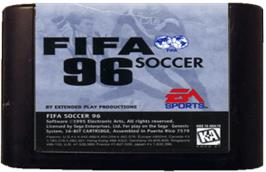 Cartridge artwork for FIFA 96 on the Sega Genesis.