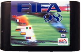 Cartridge artwork for FIFA 98: Road to World Cup on the Sega Genesis.