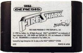 Cartridge artwork for Fire Shark on the Sega Genesis.