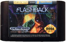 Cartridge artwork for Flashback on the Sega Genesis.