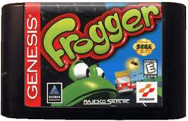Cartridge artwork for Frogger on the Sega Genesis.