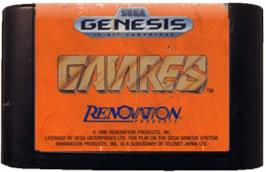 Cartridge artwork for Gaiares on the Sega Genesis.