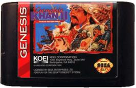 Cartridge artwork for Genghis Khan 2: Clan of the Grey Wolf on the Sega Genesis.