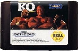 Cartridge artwork for George Foreman's KO Boxing on the Sega Genesis.