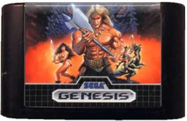 Cartridge artwork for Golden Axe on the Sega Genesis.