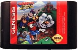 Cartridge artwork for Goofy's Hysterical History Tour on the Sega Genesis.