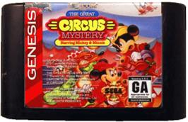 Cartridge artwork for Great Circus Mystery, The - starring Mickey and Minnie Mouse on the Sega Genesis.