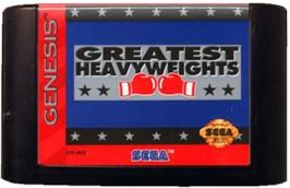 Cartridge artwork for Greatest Heavyweights on the Sega Genesis.