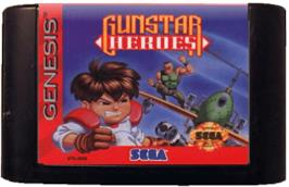 Cartridge artwork for Gunstar Heroes on the Sega Genesis.