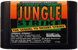 Cartridge artwork for Jungle Strike on the Sega Genesis.