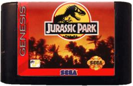 Cartridge artwork for Jurassic Park on the Sega Genesis.