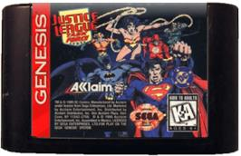 Cartridge artwork for Justice League Task Force on the Sega Genesis.