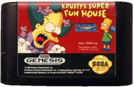 Cartridge artwork for Krusty's Fun House on the Sega Genesis.