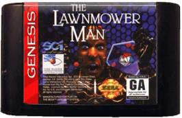 Cartridge artwork for Lawnmower Man, The on the Sega Genesis.