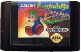 Cartridge artwork for Lemmings on the Sega Genesis.
