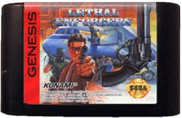 Cartridge artwork for Lethal Enforcers on the Sega Genesis.