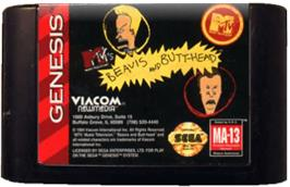 Cartridge artwork for MTV's Beavis and Butthead on the Sega Genesis.