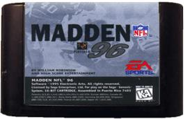 Cartridge artwork for Madden NFL '96 on the Sega Genesis.