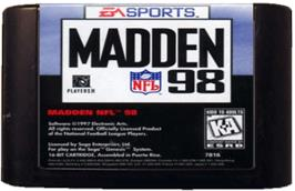 Cartridge artwork for Madden NFL '98 on the Sega Genesis.