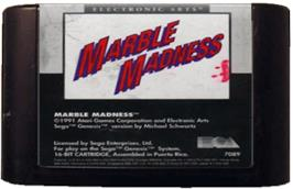 Cartridge artwork for Marble Madness on the Sega Genesis.