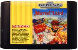Cartridge artwork for Marvel Land on the Sega Genesis.