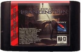 Cartridge artwork for Mary Shelley's Frankenstein on the Sega Genesis.