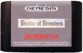 Cartridge artwork for Master of Monsters on the Sega Genesis.