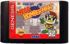 Cartridge artwork for Mega Bomberman on the Sega Genesis.