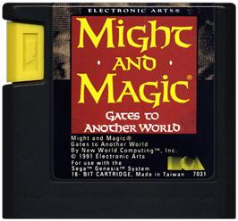 Cartridge artwork for Might and Magic 2: Gates to Another World on the Sega Genesis.