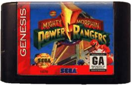 Cartridge artwork for Mighty Morphin Power Rangers on the Sega Genesis.