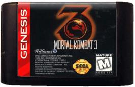 Cartridge artwork for Mortal Kombat 3 on the Sega Genesis.