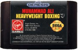Cartridge artwork for Muhammad Ali Heavyweight Boxing on the Sega Genesis.