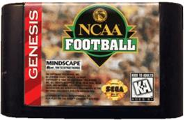 Cartridge artwork for NCAA Football on the Sega Genesis.