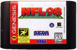 Cartridge artwork for NFL 98 on the Sega Genesis.
