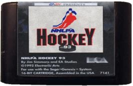 Cartridge artwork for NHLPA Hockey '93 on the Sega Genesis.