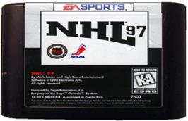 Cartridge artwork for NHL '97 on the Sega Genesis.