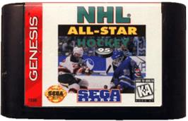 Cartridge artwork for NHL All-Star Hockey '95 on the Sega Genesis.
