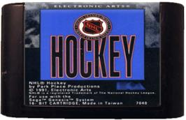Cartridge artwork for NHL Hockey on the Sega Genesis.